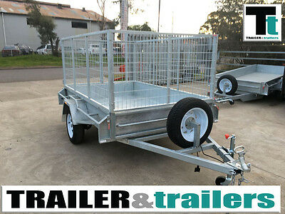 7x5 Heavy Duty Galvanised Single Axle Box Trailer 3ft / 900mm Cage Trailer
