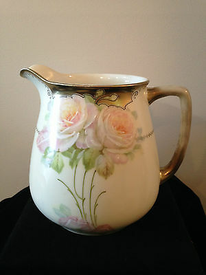 "Beautiful Hand Painted Water Jug With Pink Roses And Gold ""bavaria"""