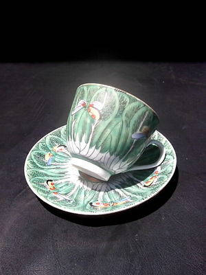 Antique Vintage Chinese Export Famille Verte Butterfly Cabbage Leaf Cup & Saucer