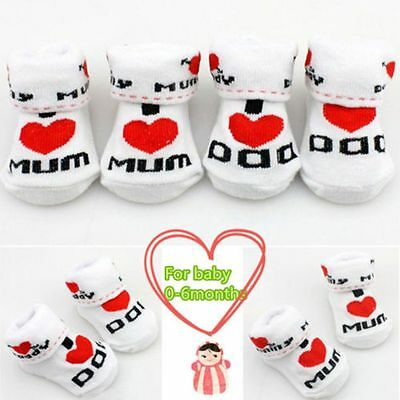 Girls Soft Newborn Love Mom/Dad Baby Socks 0~6 Months Toddler Cotton Socks