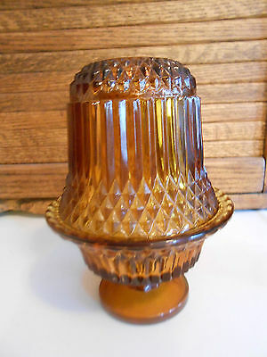 Vintage Amber Glass Fairy Lamp, Votive Candle Holder