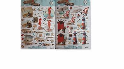 3D A4 Tole Decoupage At The Beach Shells Seahorse Lighthouse NEW