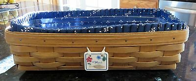Longaberger Mail Basket w/Traditional Blue & White Liner & Protector * ca 2000