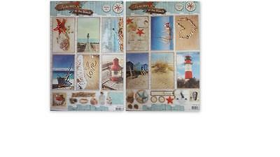 A4 Die Cut Card Toppers Summer At The Beach Shells Seahorse Lighthouse Boat NEW