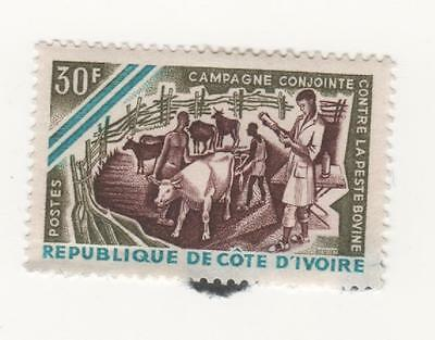 1966 IVORY COAST 30f. Campaign for Prevention of Cattle Plague SG#281 MH