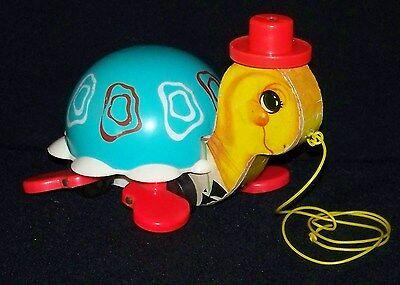 Vintage 1962 Fisher Price Tip Toe Turtle Pull Toy #773 HTF!