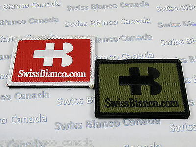 A Pair (2) of Swiss Bianco Patches (White/Red and Black/OD Green) Hook/Loop