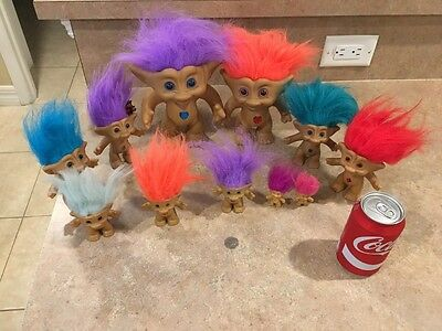 Lot of 11 Vintage Trolls Ace Treasure Troll Dolls Jewels
