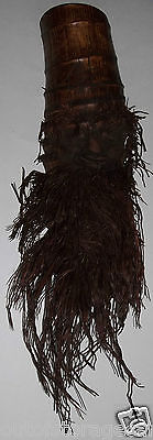 Hand Carved Bamboo Root Mask - Man Smirking With Long Beard - Awesome Wall Art