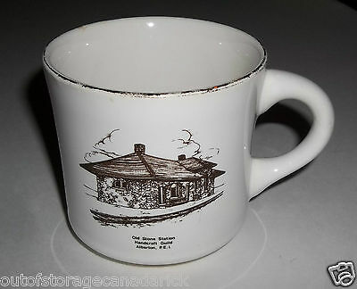 Vintage Old Stone Train Station Coffee Mug 22 K Gold Decorated In Canada - RARE