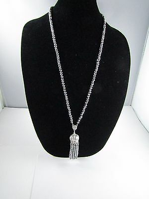 """Vintage Faceted Silver Glass Beaded Rhinestone Tassel Long Necklace 31 """""""