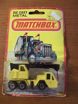 Sealed Vintage 1980 Matchbox Mobile Crane #49 Package Wear Lesney Yellow/black