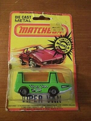 Sealed New Vintage 1980 Matchbox Green Viper Van Package Wear Lesney Limited