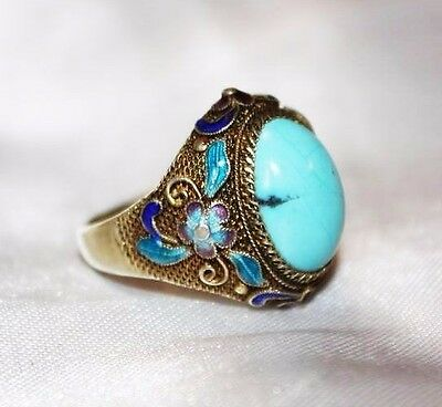 Antique Chinese Filigree Enamel Sterling Silver Gold Gilt Phenomenal Ring RG1