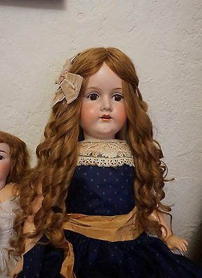 """Human Hair Wig For Antique Bisque Porcelain Doll (20"""" Long)."""