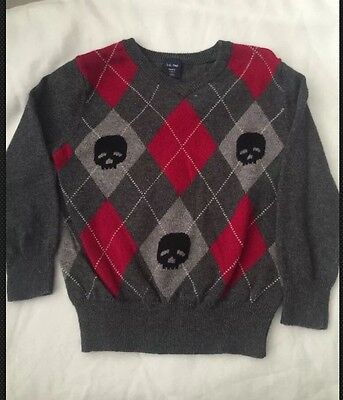 BABY GAP SIZE 2YEARS GRAY LONG SLEEVE Skulls PULLOVER SWEATER