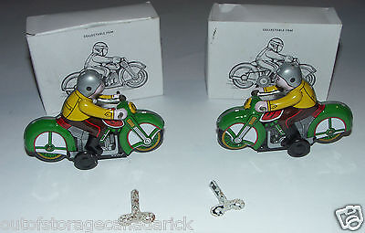 2 Tin Wind-Up Motor Cycles New In Boxes - Model MS275 - Made In China