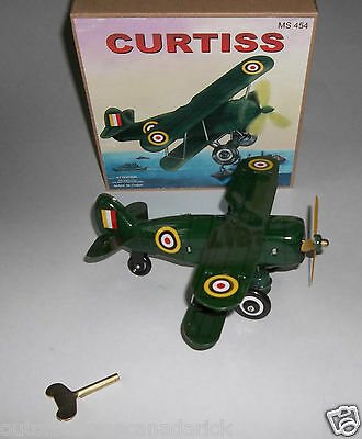 Vintage Curtiss WWI Bi-Plane MS454 Wind-Up Tin Toy In Box - Works Great