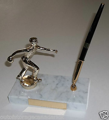 Vintage Bowling Trophy On Marble Base With Pen - Never Used Blank Plaque