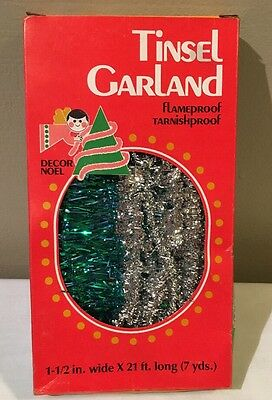Vintage TINSEL GARLAND W/Box Flameproof Decor Noel Christmas