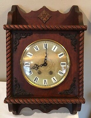 Antique Solid Wood ORNATE Pendulum Wall Clock W/Dome Glass Cover Vintage