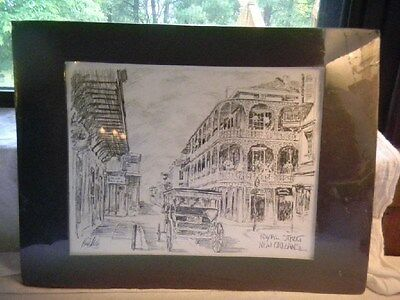 Royal Street New Orleans 1981 Brent McCarthy Black Matted Signed By Artist