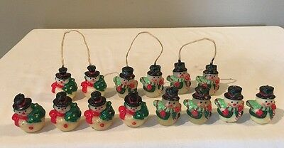 Vintage Lot Of 14 Wax Snowman Christmas Candles Figurines