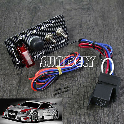 UK Car Ignition Engine Start Push Button Panel Racing 2-Toggle Switch &Relay Kit