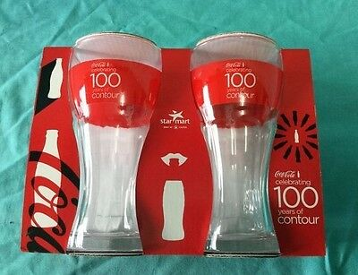 Collectable Coke Glasses set of 2 per box 3 sets - 100 years of Contour