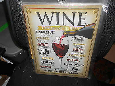 "12.5"" x 16"" Tin Sign (new) WINE FROM AROUND THE WORLD"
