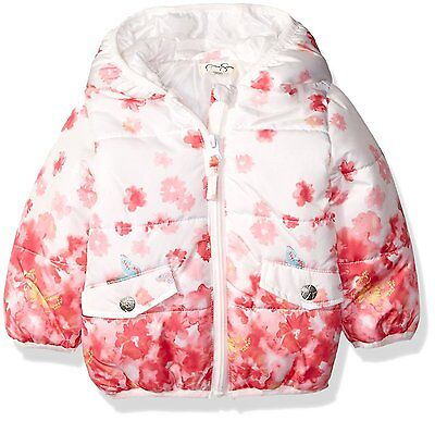 Jessica Simpson Girls Floral Print Bubble Jacket, Pink, 6/9M