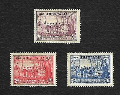 1938 Nsw Sesqui Mint Hinged Set Of 3 Cple Minor Gum Creases See Scan