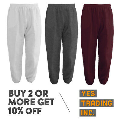 NEW MEN WOMEN PLAIN SWEAT PANTS FLEECE JOGGER w Elastic Bands Casual Hip Hop