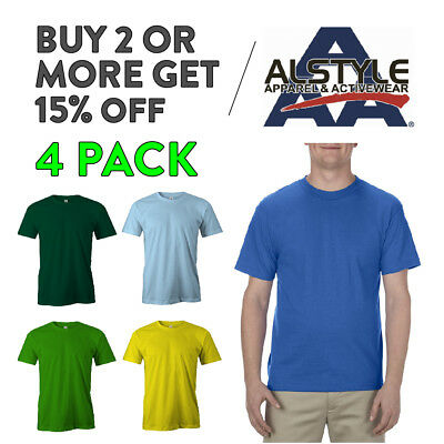 4 Pack Aaa Alstyle 1301 Mens Casual T Shirt Plain Short Sleeve Shirts Cotton Tee