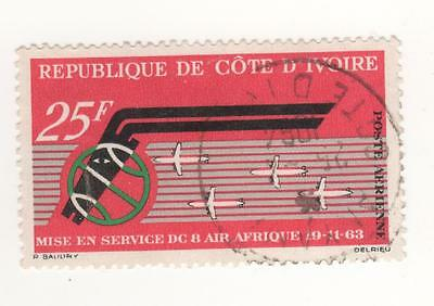 """1968 IVORY COAST Air -  1st Anniv of """"Air Afrique"""" and """"DC-8"""" Service stamp Used"""