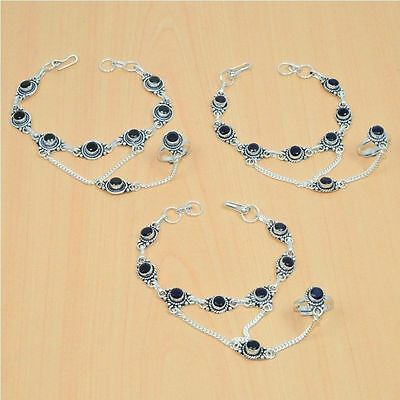 Wholesale 3Pc 925 Silver Plated Sapphire Bracelet-Ring Bridal Hathphool Lot
