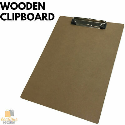 WOODEN A4 CLIPBOARD Hardboard Menu Clip Office Restaurant Writing Board Holder