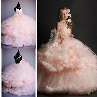 2017 Pink Tulle Princess Bridesmaid Flower Girl Dresses Wedding Party Prom Dress
