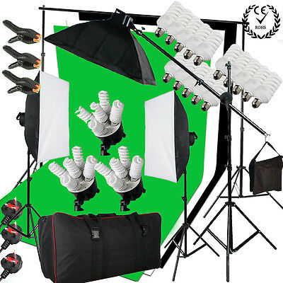 2850W Photo Studio Continuous Lighting kit Softbox Boom arm 3 Background & Stand