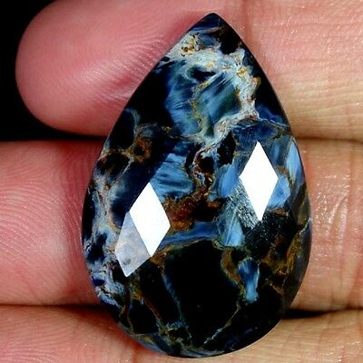 28.50Cts. EXCELLLENT CHATOYANT PIETERSITE 100%NATURAL PEAR CHECKER CUT GEMSTONES