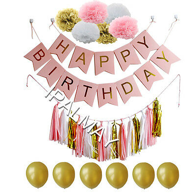 Happy Birthday Banners with Paper Pompoms Tassel Garland Balloon,Pink+White+Gold