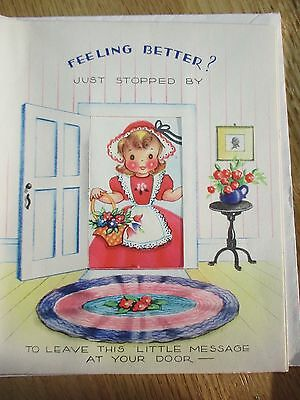 DARLING VINTAGE 1940's LITTLES GIRL POP-UP GET WELL GREETING CARD UN-USED USA