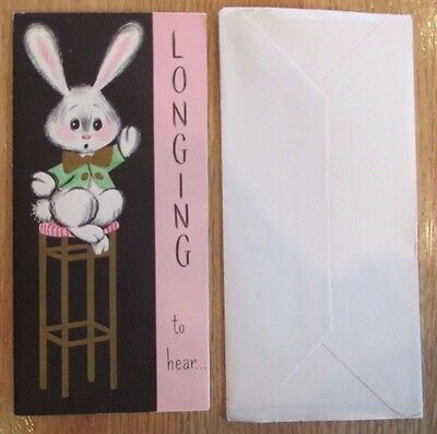 CHARMING VINTAGE 1940's SAD BUNNY LONGING TO HEAR FROM YOU MISS YOU CARD NOS USA