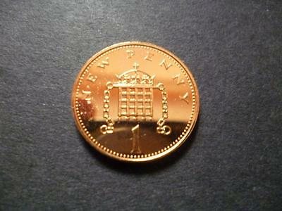 1977 Proof 1P Coin, 1977 Proof One Pence Piece.