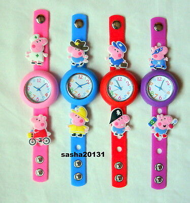 Peppa Pig Jibbitz Band Watch & A Set Of 8 Charms, Brand New