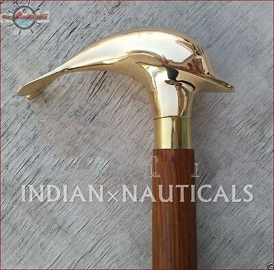 Solid Brass designer wooden walking cane dolphin handle walking stick nautical