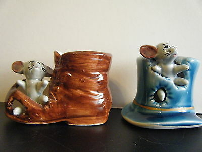 COLLECTABLE 'FOOT IN - FOOT OUT' MOUSE IN BLUE HAT and MOUSE IN BROWN BOOT