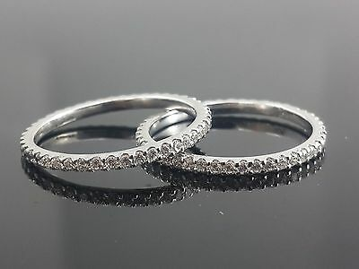 10k White Gold Wedding Band Solid Jewelry Two Matching Band Eternity Women Cz Nw