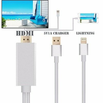 2M Lightning To AV HDMI/HDTV TV Cable Adapter Silver For Apple ipad iPhone 6S