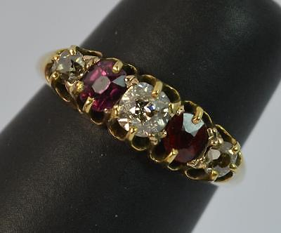Victorian Old Cut Diamond and Garnet 18ct Gold Five Stone Ring t0763